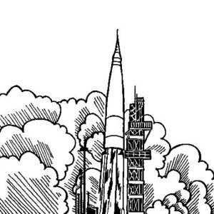 Rocket Blast Off Coloring Page