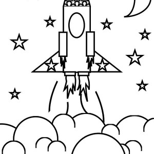 Rocket Ship And The Stars Coloring Space Coloring Page