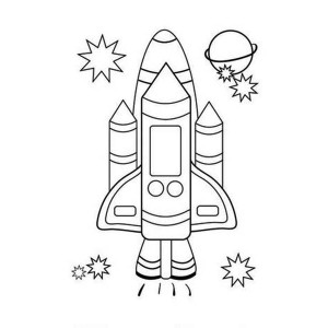 Rocket Ship Apollo Coloring Page