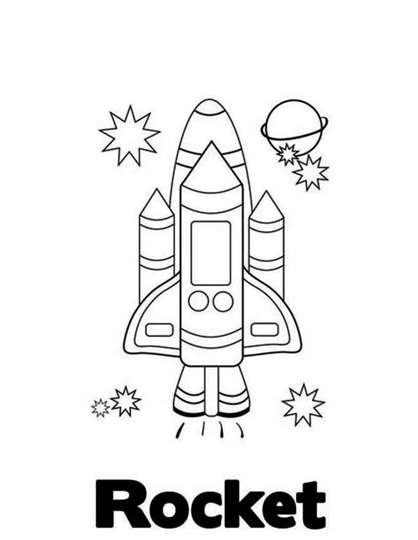 Rocket Ship Apollo Coloring Page