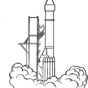 Rocket Ship Blast Off Coloring Page