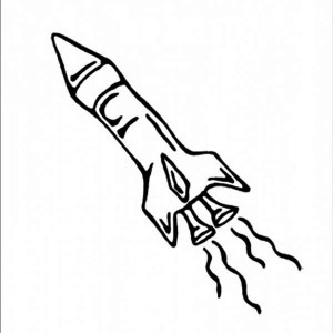 Rocket Ship Burst Coloring Page
