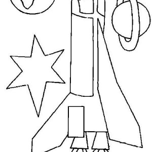 Rocket Ship Earth And Saturn Coloring Page