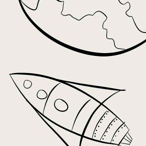 Rocket Ship Entering Earth Atmosphere Coloring Page