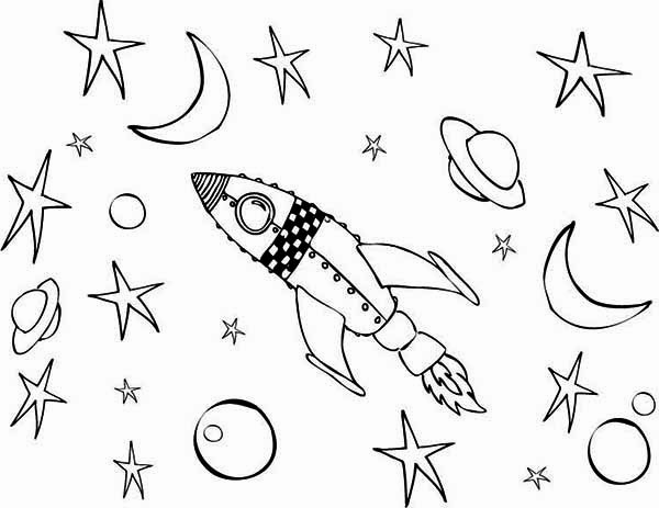 Rocket Ship Fantasy Coloring Page
