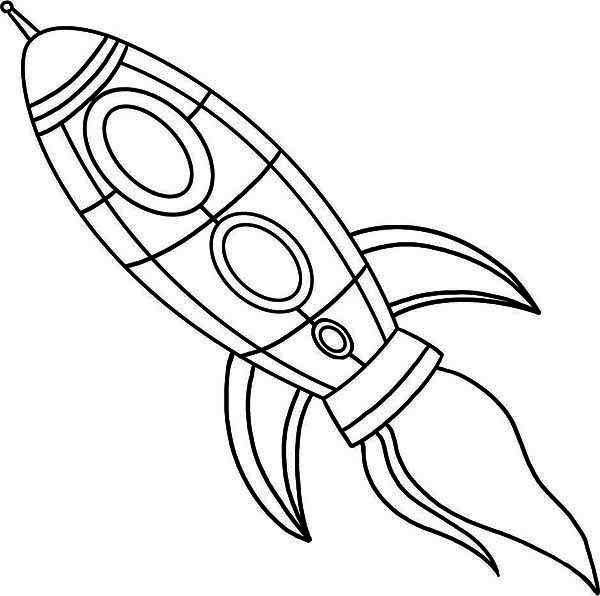 Rocket Ship Fire Blast Coloring