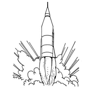 Rocket Ship Launching Coloring Page For Kids