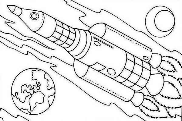 Rocket Ship On Earth Orbit Coloring Page - Download ...
