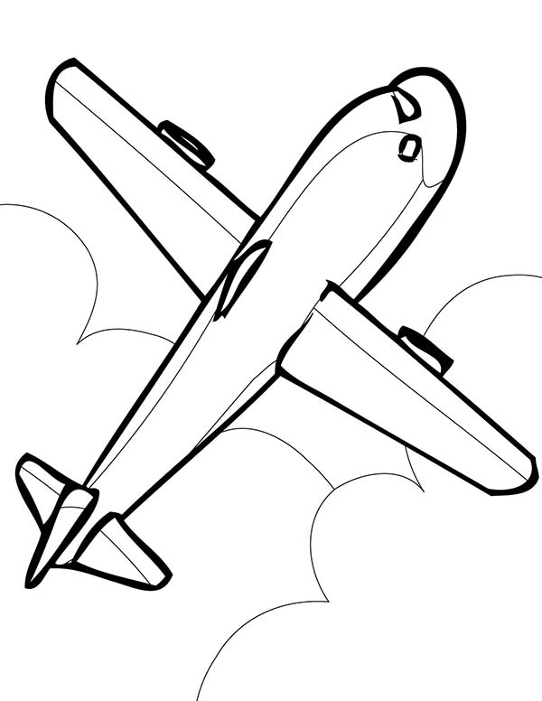 Simple Airline Coloring Page For Kids Download Print Online