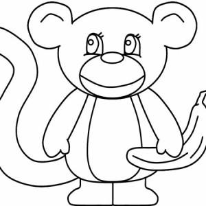 Simple Monkey Drawing Coloring Coloring Page