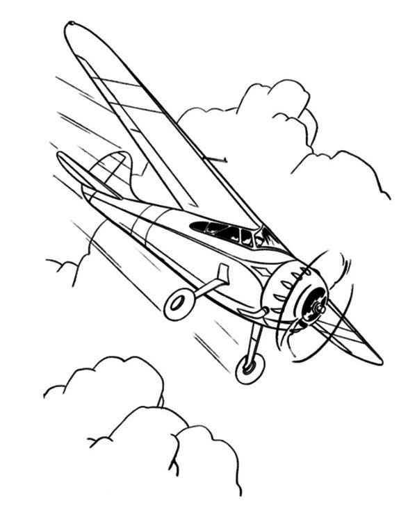 single engine propeller airplane coloring page