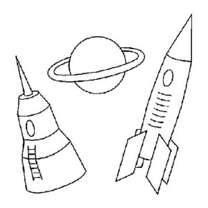 Space Rocket Saturn And Space Dock Coloring Page