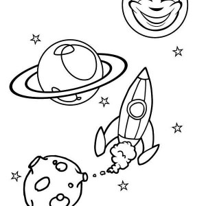 Sun Moon Rocket Ship Coloring Page