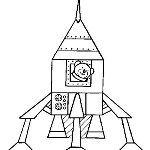 Teddy Bear Inside Rocket Ship Coloring Page