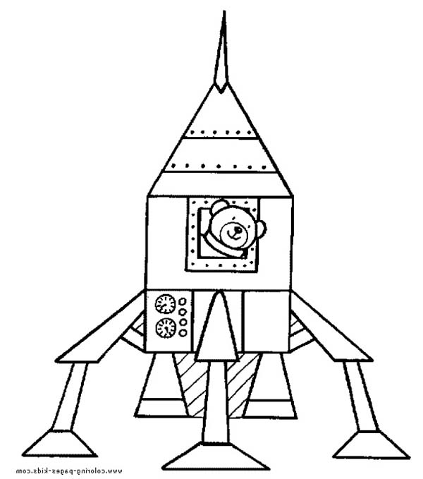Teddy Bear Inside Rocket Ship Coloring Page Download