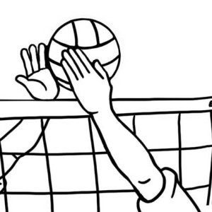 The Volleyball Blocked By Opponent Coloring Page
