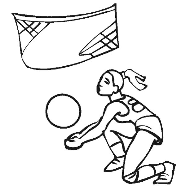 This Girl Try To Catch The Volleyball Coloring Page ...