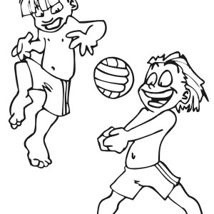 Two Kids Play Volley Ball Coloring Page