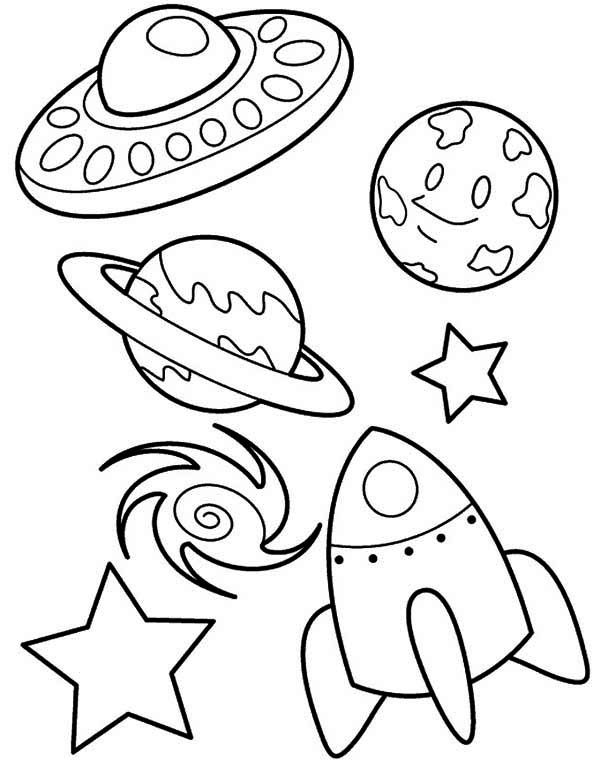 Ufo Rocket Star Blackhole Earth Coloring Space Coloring Page