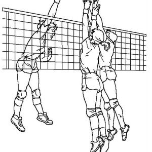 Volleyball Blocking An Attack Coloring Page