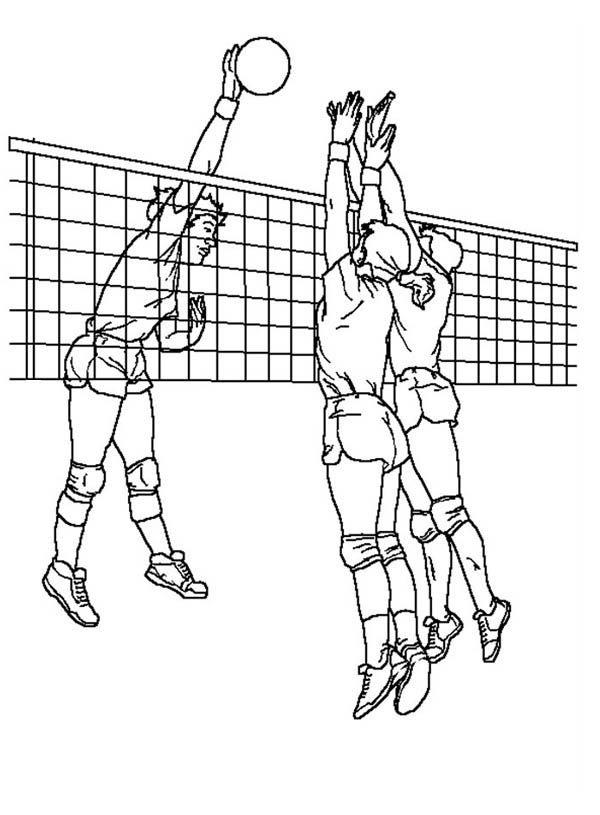 Volleyball Blocking An Attack Coloring