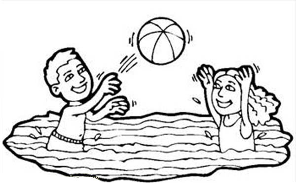 Volleyball In A Swimming Pool Coloring Page Download