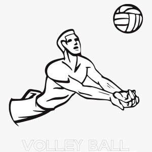 Volleyball Line Art Coloring Page