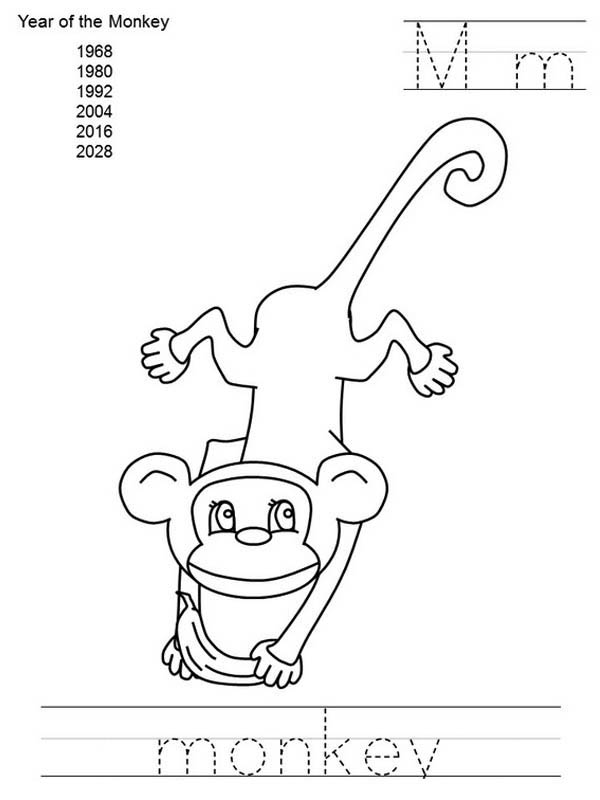 Writing M As Monkey Coloring For Kids Coloring Page - Download ...