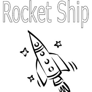 Writing And Coloring Rocket Ship Coloring Page