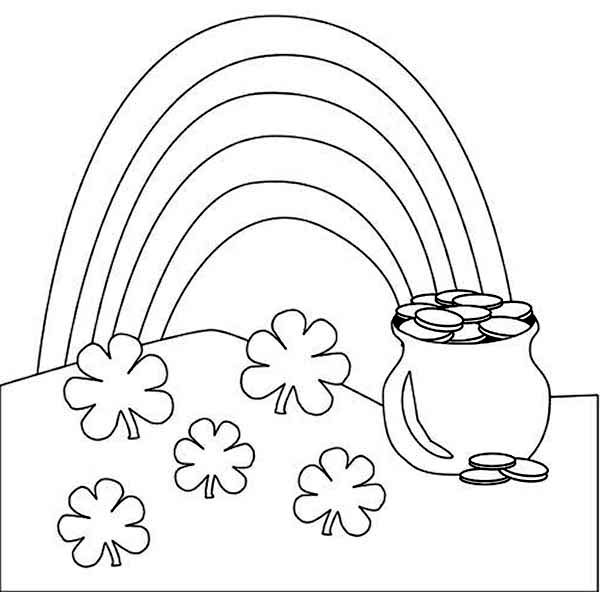 A Beautiful Rainbow And A Pot Of Gold Coloring Page Download