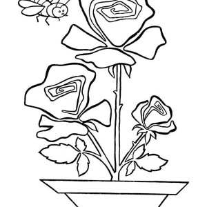 A Bee And Rose Coloring Page