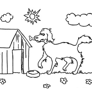 A Happy Dog And Its Lovely Home Coloring Page