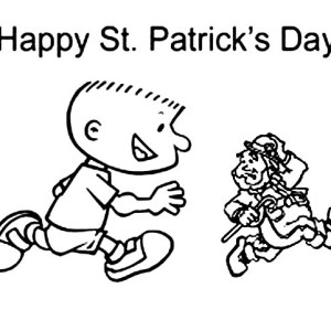 A Kid Chasing Tiny Leprechaun On St Patricks Day Coloring Page