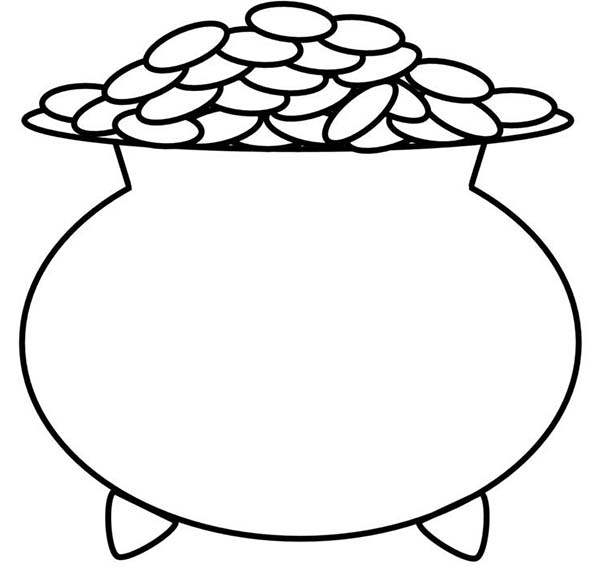 A Kids Drawing Of Pot Of Gold Coloring Page Download Print