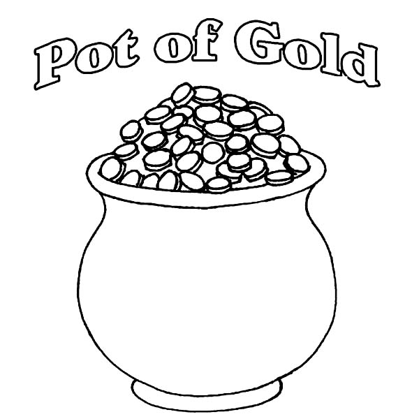 A Pot Of Gold Full Of Coins Coloring Page Download Print Online