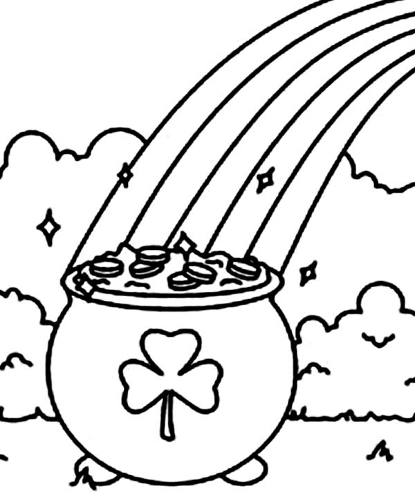 A Pot Of Gold With A Shamrock Symbol Coloring Page Download