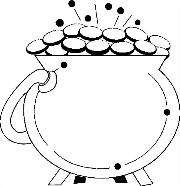 A Shiny Pot Of Gold For St Patricks Day Coloring Page ...