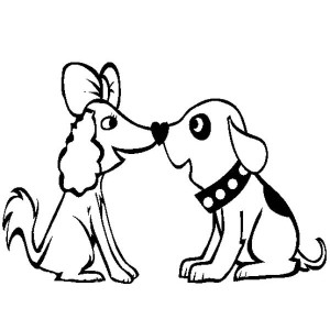 A Very Cute Dog Couple Coloring Page