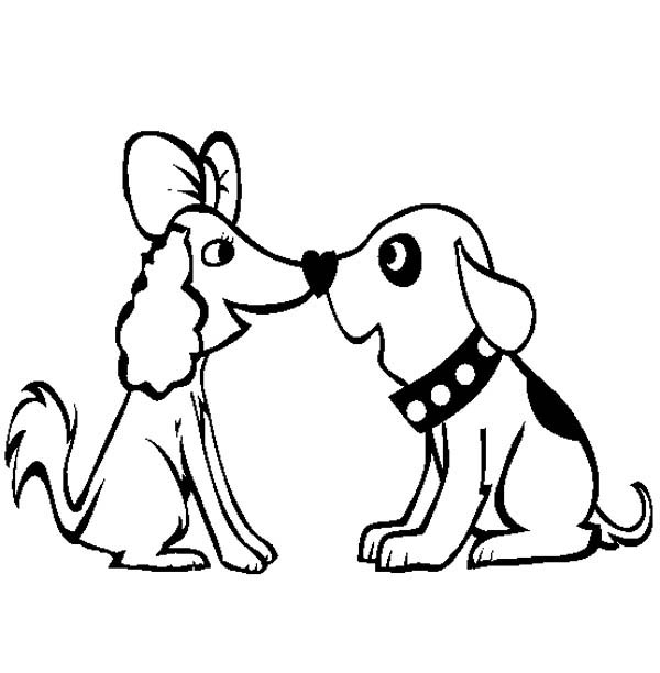 A Very Cute Dog Couple Coloring Page - Download & Print ...