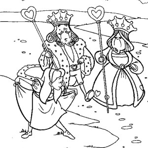 Alice Bowing To King And Queen Of Heart In Wonderland Coloring Page