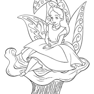 Alice Sitting On The Flower In Alice In Wonderland Coloring Page