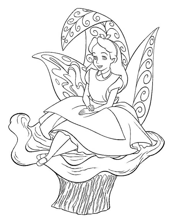 Alice Sitting On The Flower In Alice In Wonderland Coloring Page Download Print Online Coloring Pages For Free Color Nimbus