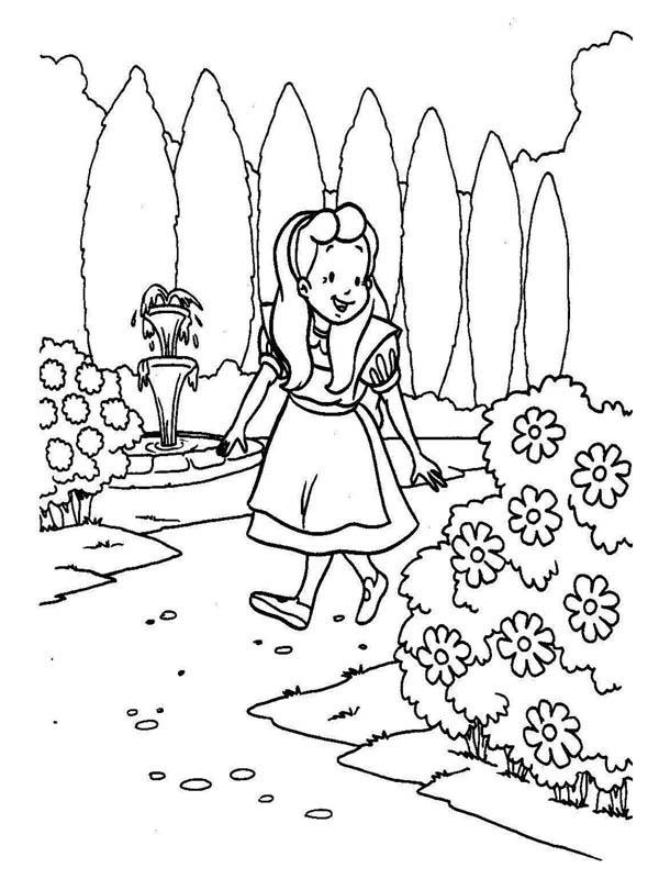 Alice Walking Around The Garden In Alice In Wonderland