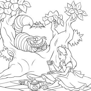 Alice And Cheshire Cat Drink Tea In Alice In Wonderland Coloring Page