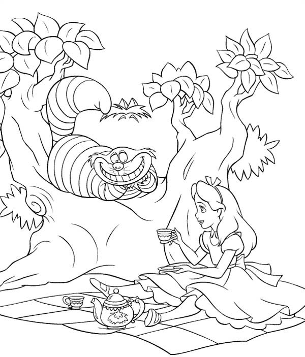 Alice And Cheshire Cat Drink Tea In Alice In Wonderland Coloring ...