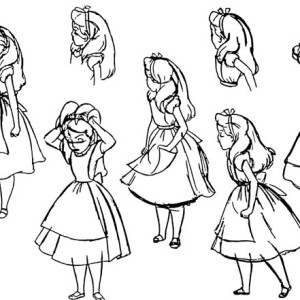 Alice In Wonderland Character Coloring Page