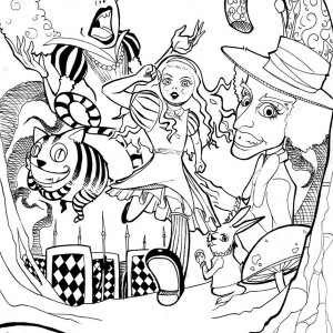 Alice In Wonderland Poster Coloring Page