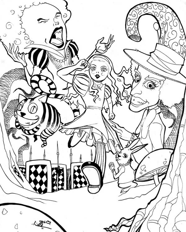 Alice In Wonderland Poster Coloring Page Download Print Online