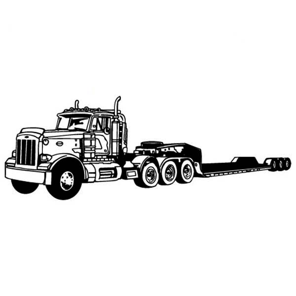 Amazing Long Tail Semi Truck Coloring Page Download