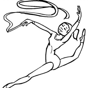 Amazing Ribbon Individual All Around Rhythmic In Gymnastic Coloring Page
